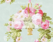 Basket of Roses Clipart 13x20 Tattered Vintage Antique Wallpaper Roses PNG