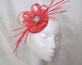 Coral Watermelon Sinamay Loop Feather & Rhinestone Pearl Wedding Fascinator Mini Hat - Made to Order