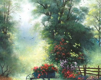 In the Trees Original Oil Painting 18X24, flowers, landscape, wheel barrow, Vickie Wade Art