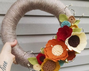 Fall wreath, yarn wreath, wildflower wreath, year round wreath, wool felt flower wreath,autumn wreath,home decor,wedding gift, wedding decor