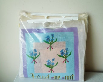 """Vintage Painted Kit Needlepoint Forget-Me-Not Design by Dinah Shore 12"""" x 12"""", SALE"""