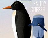 Penguin Enjoys Coffee
