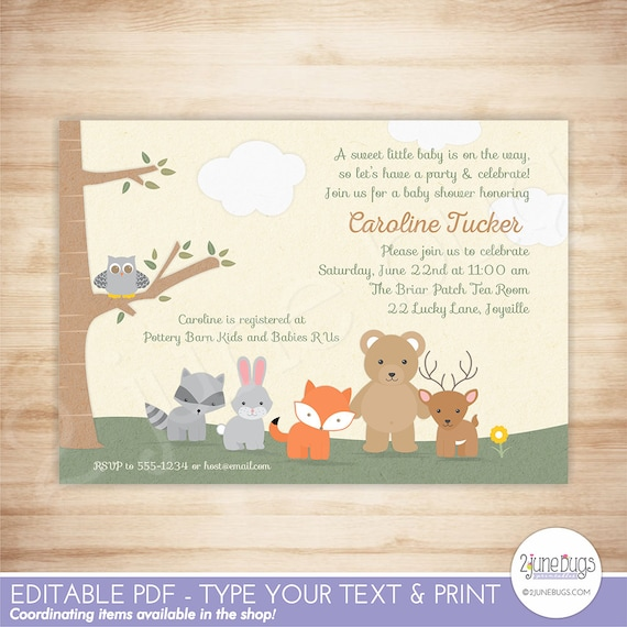 Woodland baby shower invitation printable woodland baby shower il570xn filmwisefo Images