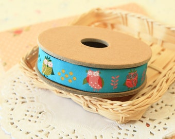 Flower Owls cartoon jacquard woven ribbon trim