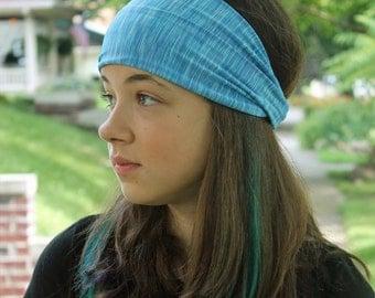 Yoga Hair Band, Light Blue Head Wrap, Thick Bandana, Stretch Head Cover, Blue Sport Headband (#1113) S M L X