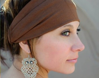 Fabric Head Wrap, Fabric Headwrap, Brown Head Wrap, Fitness Head Wrap, Cocoa Yoga Headband (#1002) S M L X