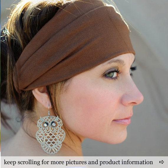 Big Head Headband Brown Fabric Headwrap Fitness Head Wrap Girlfriend Gift Brown Head Scarf Headband (#1002) S M L X