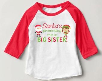 Personalized Santa's promoting me to BIG SISTER! Red Baseball Raglan Shirt - Christmas Pregnancy Announcement Shirt