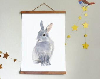 Rabbit Print and Hanger, size A4 or 8 x 10, Print on Canvas and Magnetic Hanger of Your Choice