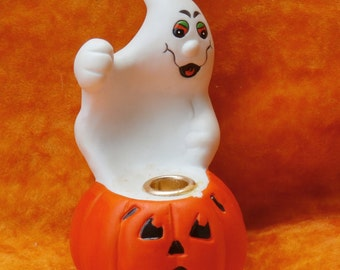 Ghost and Jack o Lantern Vintage Halloween Candle holder,  Russ Berrie Fright Lite