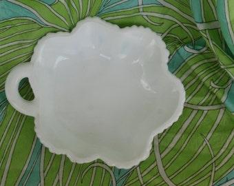 Milk Glass Leaf Dish, Vintage Candy or Nut Dish