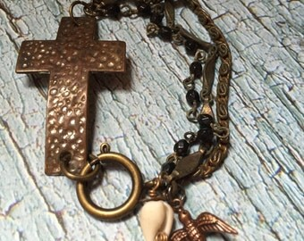 On A Wing & A Prayer Vintage Assemblage Bracelet