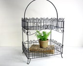 r e s e r v e d ... Vintage Decorative Wire Basket / Two Tier Wire Plant Stand