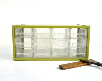Vintage Storage Box with Drawers / Desk Organizer / Small Parts Bin Supplies Organizer / Industrial Storage