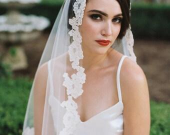 Mantilla Veil, Lace Mantilla Veil, Ivory Mantilla Veil, Bridal Veil, Wedding Veil, Cathedral Veil, Chapel Veil, Ivory Wedding veil