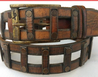 Men's Style, Brown Belt,  Fashion Leather, Unisex Belt, Artisan Leather, Ornate Design, Art Leather, Men's Apparel, Women's Belt, Wide Belt