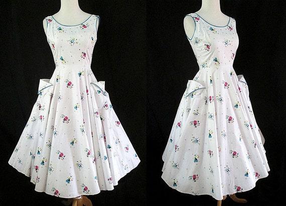 CLEARANCE Adorable 1950's Cotton Novelty Print Sundress Rockabilly Vintage Day Dress Rockabilly VLV Pinup Girl Size-X-Small
