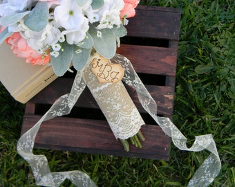 Burlap And Lace Bouquet Wrap Shabby Chic Rustic Country Woodland Brides Bouquet Wrap With Lace & Wood Heart Charm