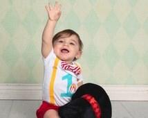 Circus Birthday Outfit. Baby Boy First Birthday Shirt. Circus Theme Party. Boys 2nd Birthday Carnival Yellow Red Aqua. Circus Tent Shirt.
