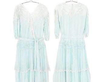Beaded Silk Dress * 80s Party Dress * 1980s Sequin Flapper Dress * Small / Medium