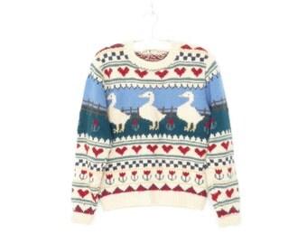 Folk Knit Sweater * Vintage Wool Pullover Sweater * Duck Hearts Jumper * Medium / Large