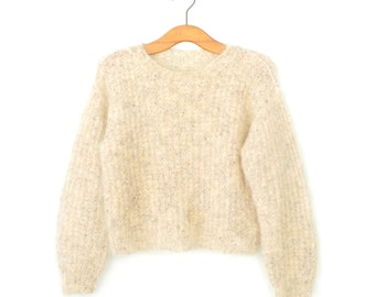 Vintage Mohair Sweater * Cropped Pullover Sweater * Oatmeal Sweater * Medium