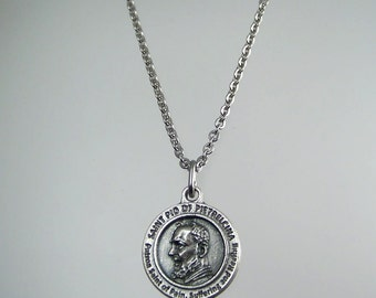 Saint Padre Pio of Pietrelcina Medal Necklace Patron Saint of Healing