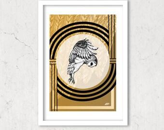 """Owl Dreams, Graphic Art Print 8""""x 12"""" Art Deco"""