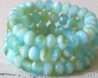 5x7mm Faceted Rondelle Beads - Czech Glass Beads - Jewelry Making Supply - 7x5mm Ocean Seafoam  - 10 or 25 Beads
