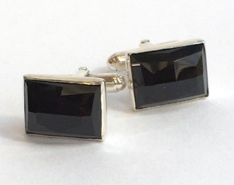 Black onyx cuff links, Gemstone cuff links, Silver cuff links, rectangle cuff links, unique bohemian cuff links -  Sudden Wind C8002-1