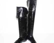 Vintage OTK BOOTS Black Patent Leather Flat Cuff Pirate Booties 8