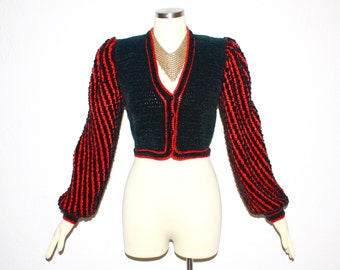 Vintage GIVENCHY BOUTIQUE Couture Black Red Chenille Cropped Jacket