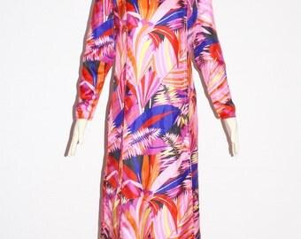 DYNASTY British Crown Colony Vintage Silk Caftan Asian Boho Chic Kimono