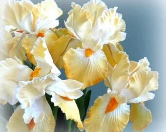 Large Yellow Flower Velvet Flower Iris Flower Artificial Flower Decor Artificial Silk Flowers Wedding Flower Wedding Flower Supply Faux Fake