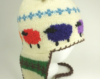 Colored Sheep Ear Flap Hat