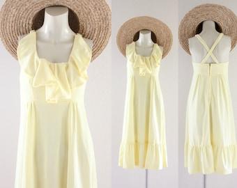 S A L E yellow ruffle sun dress / 1970's