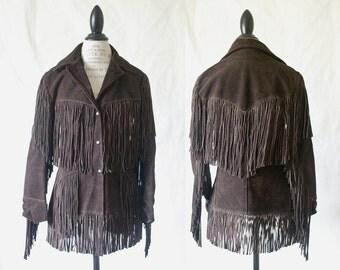 c1970's Chocolate Suede Leather Fringe Coat