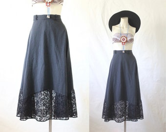 faded & cotton lace midi skirt / 1980's