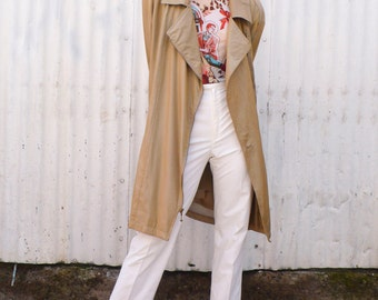 Vintage Avant Garde 1980's Gold Metallic Funnel Neck Anorak Windbreaker Jacket Coat M/L