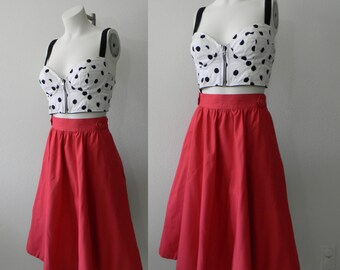 Perfect Vintage Fit and Flare Dark Pink Skirt