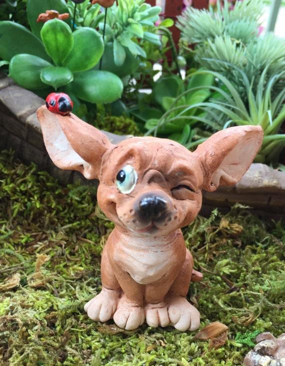Miniature Chihuahua Pup With Ladybug Figurine, Fairy Garden, Cake Topper, Accessory, Dog Figurine