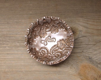 Mom Gift Vintage Floral Lace Ring Bowl SMALL SIZE Jewelry Holder Dish Personalized For Her, Vintage Style Antique Bronze Pearl Finish
