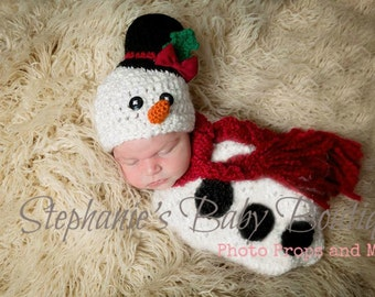 Crochet Newborn Baby Boy/Girl Frosty The Snowman Swaddle, Scarf & Hat Set, Custom, Christmas, Holiday Photo Prop, Photography Prop, Cocoon