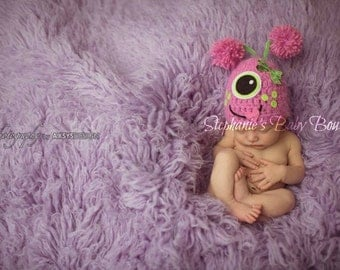 Crochet Baby Girl Pink One-Eye Monster Hat, Custom Made To Order, Newborn, 0-3, 3-6 Months Photo Photography Prop, Shower Gift Halloween