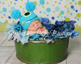 Crochet Baby Boy Blue One-Eye Monster Hat, Custom Made To Order, Newborn, 0-3, 3-6 Months Photo Photography Prop Baby Shower Gift