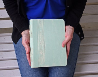 Baby Shower Photo Album or Guest Book, Wedding Guest Book, Mint Green Weathered Finish, 6x9 {MADE UPON ORDER}