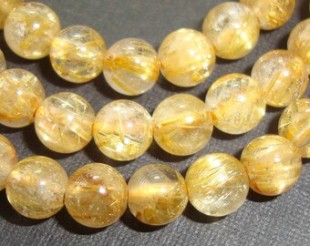 4.5-5mm, sale, Genuine Golden Rutilated Quartz Smooth Round Beads