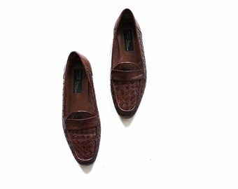 Vintage Leather Loafers 5.5 / Brown Leather Loafers / Italian Penny Loafers