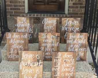 Wedding Aisle Signs ~ Love Is Patient Love Is Kind Wood Signs ~ Love Is Patient Wedding Aisle Signs Set of 8 ~ 1 Corinthians 13 Sign