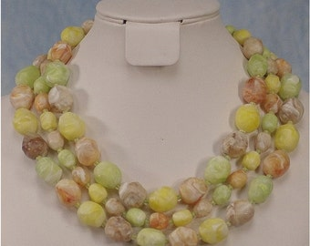 Vintage Coro 50s 60s Chunky Three-Strand Swirled Lucite Bead Choker Necklace in Citrus Pastels